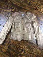 Talbots Leather Jacket Coat, Metallic Gold Bronze, Military Pockets, Size 8