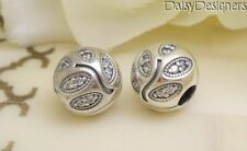 NEW Authentic Pandora Silver SPARKLING LEAVES CLIP Charm PAIR 791416CZ RETIRED