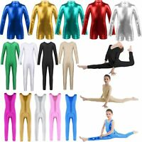 Girls Metallic Ballet Dance Gymnastics Unitard Full Bodysuit Jumpsuit Leotards