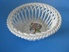 Herend Hvngary- Hungary Open White Lattice Bowl Hand-painted Flower Design- Mint