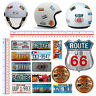 Adesivi casco route 66 targhe U.S.A. sticker helmet tuning route 66 map 15 pz.