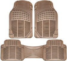 Floor Mats for SUVs Trucks Vans 3pc Set All Weather Rubber Semi Custom Fit Beige