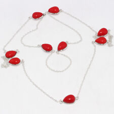 """Red Coral Chain Necklace 36"""" Jewelry N7477"""
