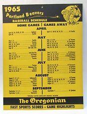 1965 Portland Beavers Pcl baseball cardboard wall sign schedule mint Scarce!