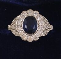 Vintage Jewellery Gold Ring Blue White Sapphires Antique Deco Jewelry sz 8 Q