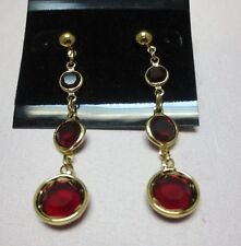 14KT GOLD EP RUBY/SIAM GENUINE AUSTRIAN CRYSTALS DROP EARRINGS, E-111
