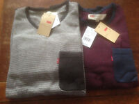 NWT Levi's Men's Willard Light Weight Sweater Rolled Hem and Collar M/L/XL/2XL