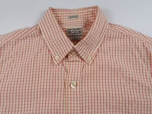 J Crew Mens Cotton Slim Fit LS Button Down Pink Yellow Plaid Checkered Shirt S