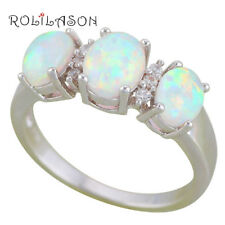 OR889-7 Engagement White Fire Opal Silver Fashion Jewelry Zircon lady Rings