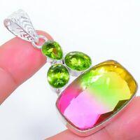 "Bi-Color Tourmaline, Peridot Ethnic Jewelryr Jewelry Pendant 2.3"" AK-3260"