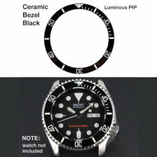 BLACK CERAMIC BEZEL INSERT with PIP, FOR SEIKO SKX Watches - SKX007, 009, 011