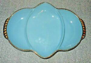 Vintage Blue Milk Glass Divided Fire King Relish Dish / Plate ~ USA made