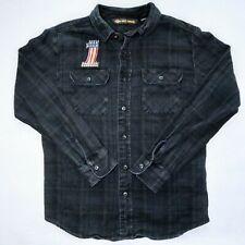 Harley-Davidson Mens M Plaid Flannel Embroidered Long Sleeve Button Shirt