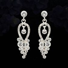 Silver Plated Clear Crystal Rhinestone Wedding Bridal Drop Dangle Earrings 5585