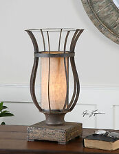 NEW BRONZE METAL CAGE TABLE LAMP DISTRESSED WOOD FOOT UTTERMOST