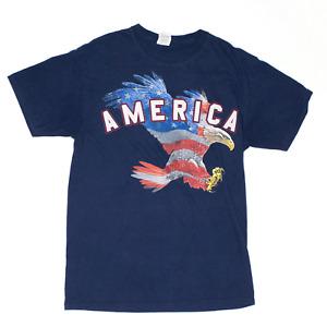 FRUIT OF THE LOOM Blue Regular USA Short Sleeve T-Shirt Womens M