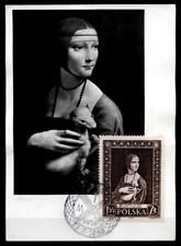 Leonardo da Vinci. Dame mit Hermelin. Maximumkarte. Polen 1956