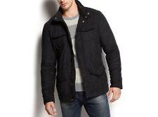 Alfani RED Men's Jacket Sz XXL Deep Black Microsuede Slim Fit Insulated Hooded
