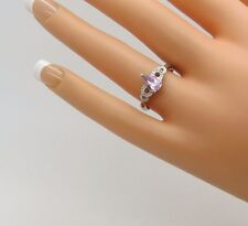 Pear Cut Purple Amethyst w/ Diamond Chip Accents 925 Sterling Silver S/8 Ring E