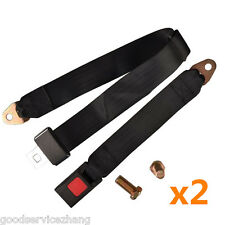 2 Black Universal 2 Point Retractable AUTO Car Seat Lap Belts Adjustable Safety