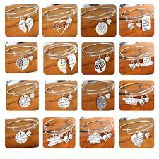 Heart Pendant Charm Bracelet Women Men Jewelry Bangle Best Friend Gifts Silver