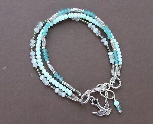 Peruvian Opal Apatite Moonstone Pyrite Silver Triple Strand Bracelet Handmade