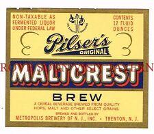 1950s Pilser's Maltcrest Brew Trenton NJ Beer 12oz Label Tavern Trove