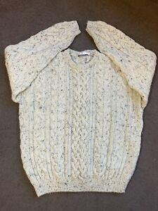 Avenue Menswear Oatmeal Cable Knit Aran Jumper Pure New Wool Size M