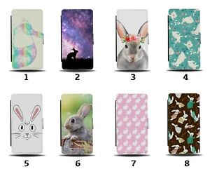 Rabbit Flip Wallet Case Rabbits Bunny Bunnies Face Pet Pattern Funny Gift 8063b
