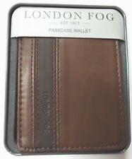 London Fog Men's Two Toned Brown Bifold Passcase Leather Wallet in Metal Box