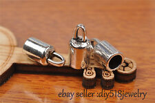 10s Charms Diy Bead End Cap Stopperhole Fit 5mm Cord Leather Craft Necklace 7258