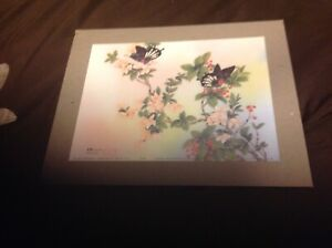SIGNED Johnny Lung Master Chinese Painter LITHO 1982 Cherry Blossoms/Butterflies