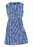 BCBG MAXAZRIA Pacific Blue Combo Print Wrap Dress Size XS