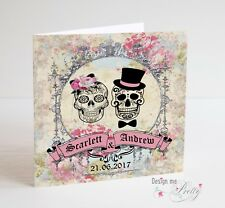 PERSONALISED SUGAR SKULL Wedding Card - Vintage Day Of The Dead - Rock N Roll