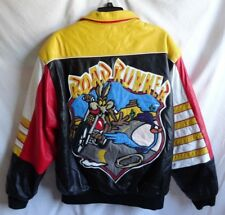 Vtg. XL Jeff Hamilton Road Runner Wile E Coyote Leather Jacket Looney Tunes Coat