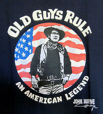 "Men's Old Guys Rule ""An American Legend"" John Wayne T-Shirt - Navy/Large"