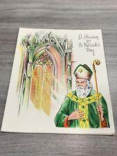 Vintage Greeting Card St Patrick's Day Irish Church Window Priest