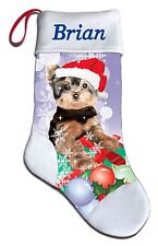 Personalized Yorkie Yorkshire Terrier Dog Puppy Christmas Stocking Embroidered
