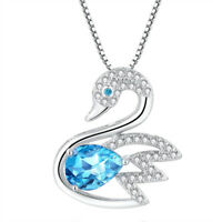 Natural Blue Topaz Sterling Silver Swan Pendant Necklace Gifts For Her