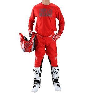 Troy Lee Designs Gear Combo Set TLD MX ATV GP Pants Jersey Pinstripe Red 2021