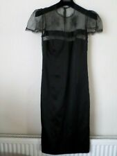 New Nicole Coste Black Satin Look & Lace Dress Size UK 8 / 10 EU 38 RRP:£1290
