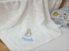 personalised perter rabbit baby blanket, embroidered, 100% cotton