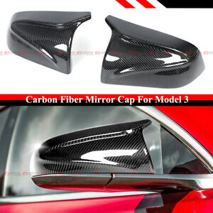 FOR 2017-2021 TESLA MODEL 3 M HORN STYLE CARBON FIBER REPLACEMENT MIRROR COVERS