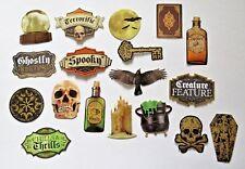 Halloween Die Cut Sticker Set 18 pc Cauldron Spell Book Foil Accents Paper House
