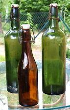 3x Bottiglie antico Oggetto d'antiquariato Vetro Porcellana Birra Vino Squallido