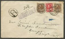 1916 Registered Cover 8c Admiral Multi War Tax RPO CDS Saybec Station PQ to USA