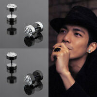 1 Pair Men's Cool Crystal Barbell Punk Gothic Stainless Steel Ear Studs Earrings