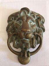 More details for victorian brass lions head door knocker