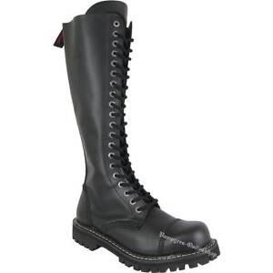 Angry Itch 20-Loch Zip Schwarz Rangers Reißverschluss Leder Stiefel Stahlkappe