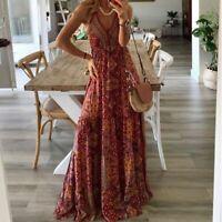 Womens V Neck Maxi Women Fashion summer Evening Dress Dresses Loose sundress